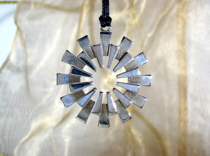 Sun Burst Pendant - Printed Sun in Fine Metals 3d printed The Sunburst Pendant by seriaforma in Polished Silver.