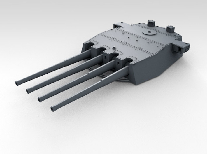 "1/700 HMS Duke of York 14"" Turret Set 3d printed 3d render showing product detail (X Turret)"