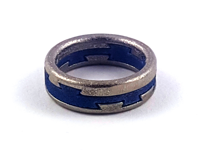 Metal Puzzle Ring! (size:9, side: A) 3d printed