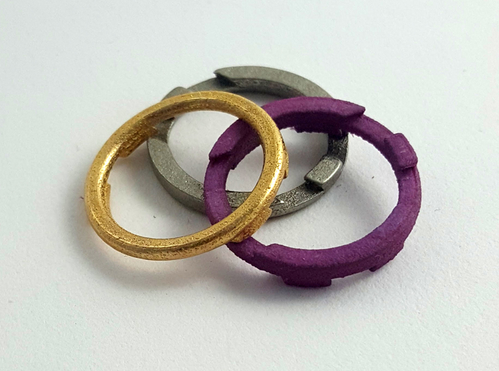 Metal Puzzle Ring! (size:9, side: B) 3d printed