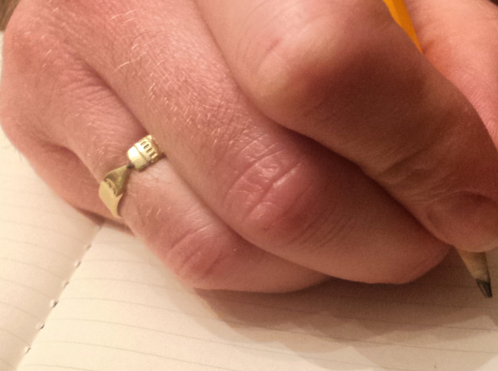 Pencil Ring, Size 5.5 3d printed Raw brass