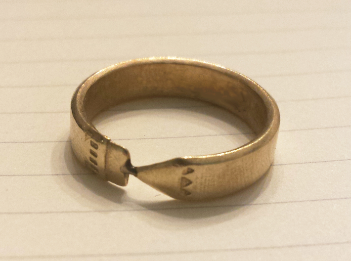 Pencil Ring, Size 7 3d printed Raw brass