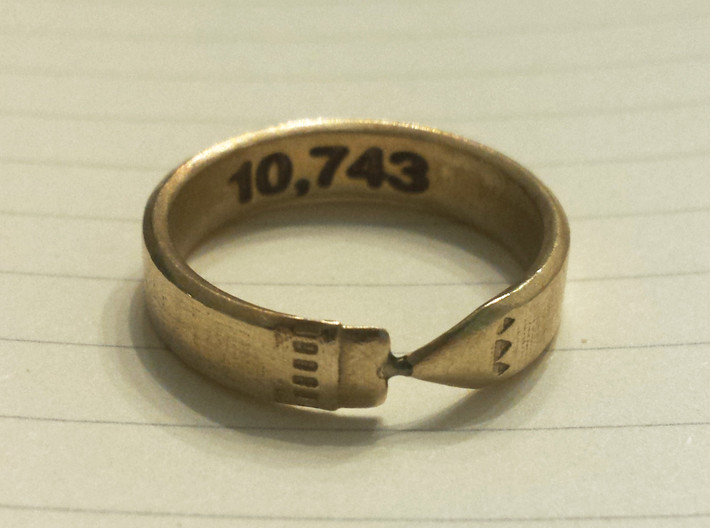 Pencil Ring, Size 9 3d printed Raw brass, customized on the inside of the band with a word-count.