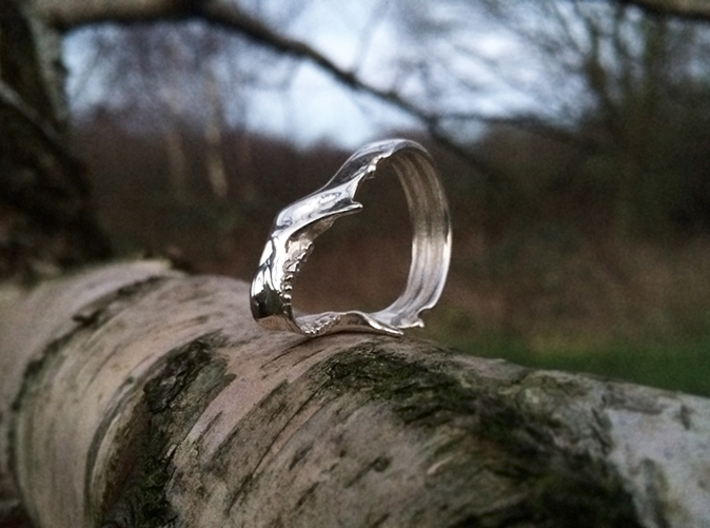 Jaw Ring 3d printed Jaw ring in polished silver size 10