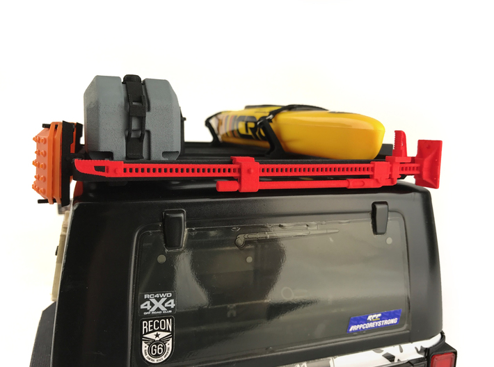 FR10024 Jack and Bracket - BLACK 3d printed Shown in RED mounted to Slimline II rack on a Axial JK (sold separately)