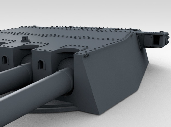 "1/700 HMS Prince of Wales 14"" Turrets 1941 3d printed 3d render showing product detail (A Turret)"
