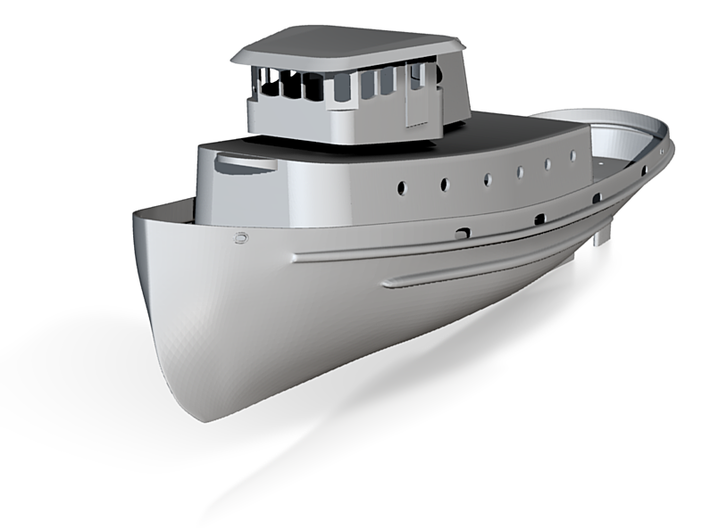 1/96 scale YTB TugHull - Hull, Rudder, and Structu 3d printed