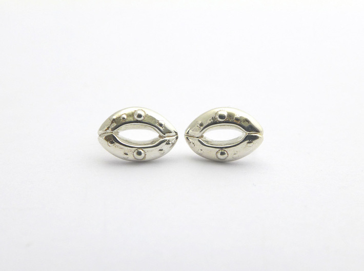 Stomata Earrings - Science Jewelry 3d printed Stomata earrings in polished silver