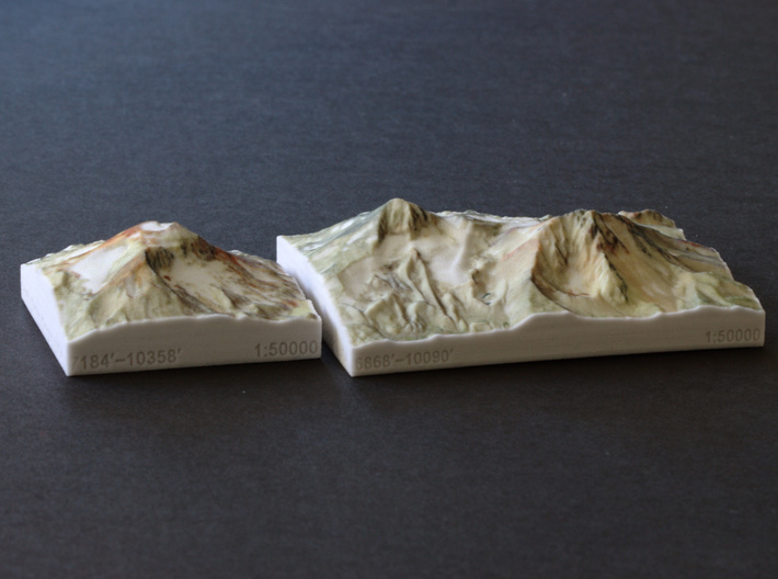 North and Middle Sister, Oregon, USA, 1:50000 3d printed Middle and North Sisters model next to South Sister model