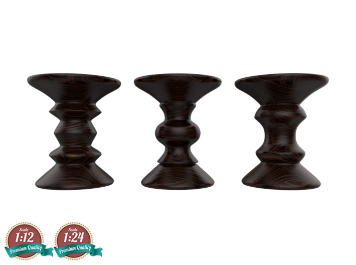 Miniature Eames Walnut Stool - Set Of 3 3d printed Eames Walnut Stool - Charles Eames