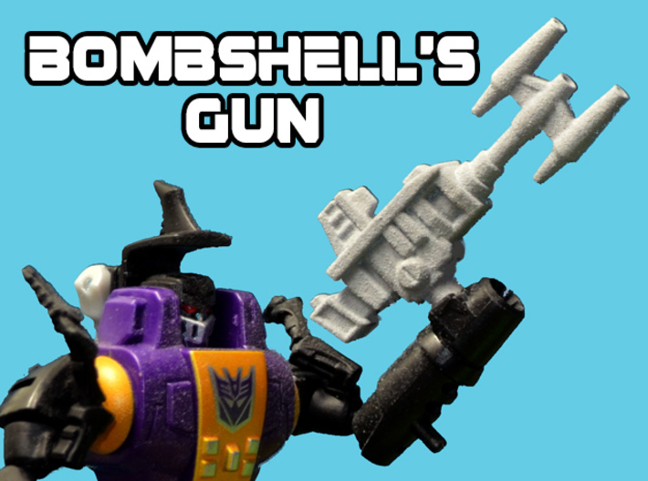Bombshell's Gun, 5mm 3d printed White strong and flexible print, primer applied to better show detail