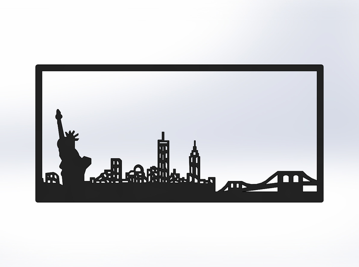 New York Skyline - 2.75 X 5.75 (S) 3d printed Black Front
