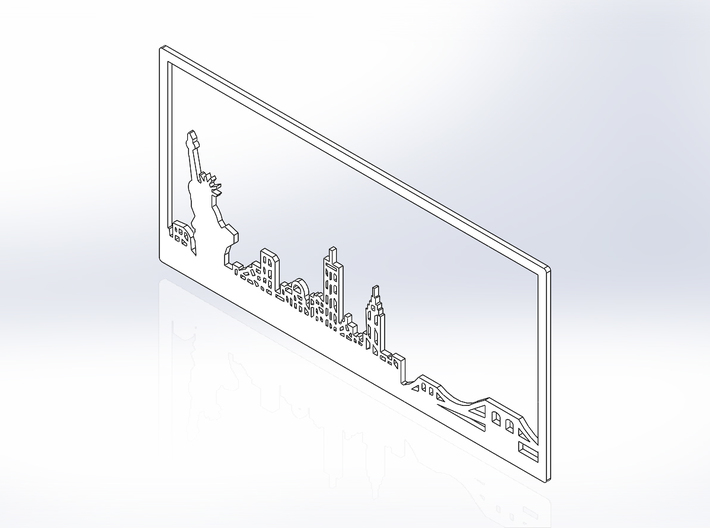 New York Skyline - 11 X 23 (XL) 3d printed Iso