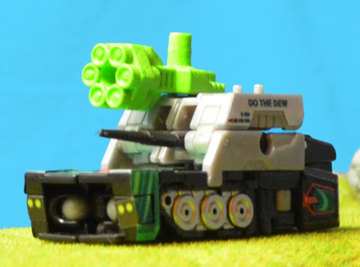6-Pack Shooter, 5mm 3d printed White strong and flexible gun, hand painted, shown in tank turret configuration.