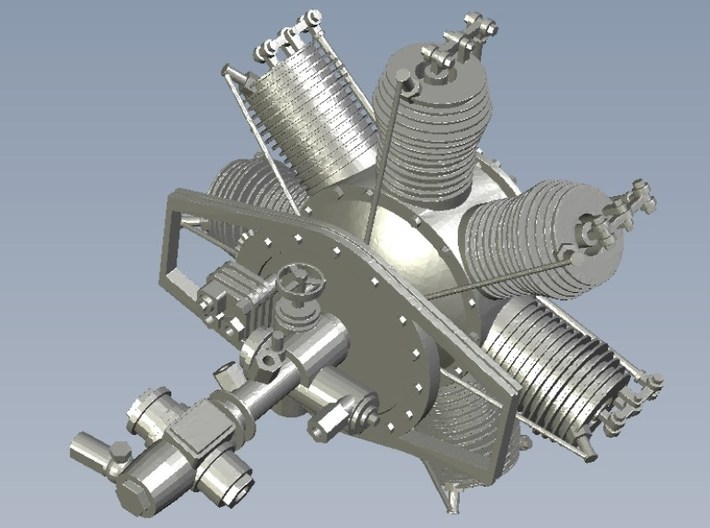 1/16 scale Gnome 7 Omega rotary engine 3d printed
