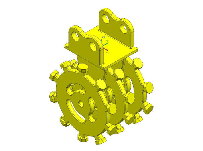 1:50 rotary compactor with flange mount 3d printed