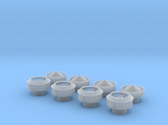 O-scale Roof Ventilators - 4ea 3d printed