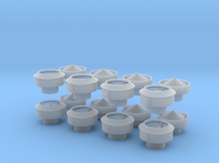 O-scale Roof Ventilators - 8ea 3d printed
