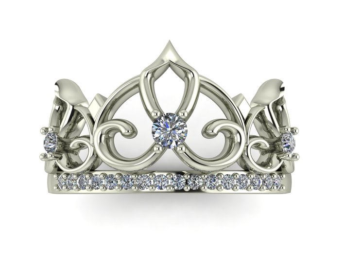 Crown ring Princess NO STONES SUPPLIED 3d printed