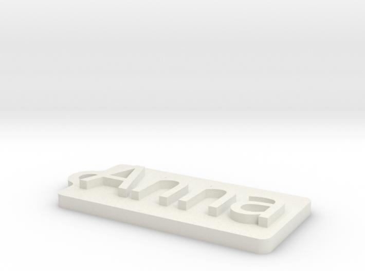 Name Tag Anna Key chain Fob Zipper Tag 2x1x02in 3d printed