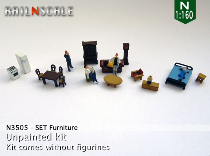 Furniture (N 1:160) 3d printed
