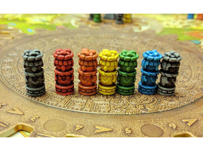 Mayan Worker Tokens (6 pcs) 3d printed Hand-painted White Strong Flexible. Pic courtesy of user LunaWolvesMan @ BGG. Game board copyright Czech Games / Iello.