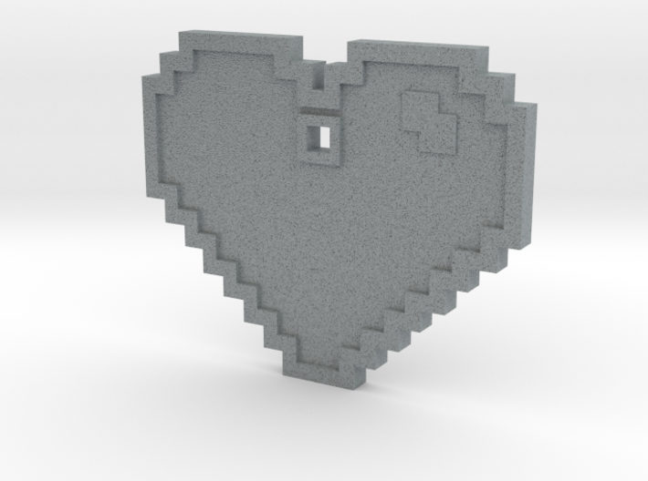 Pixel Art Heart Pendant 3d printed Metalic Plastic Pendant. A good middle-ground if you don't want plastic or metal.