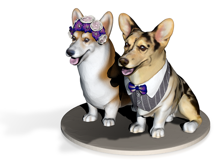 Corgi Wedding Cake Topper 3d printed