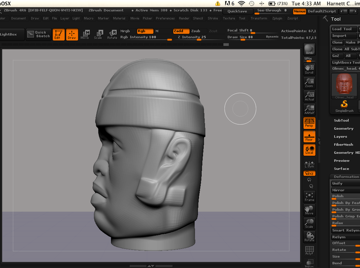 Olmec Head  3d printed 3d screen 4