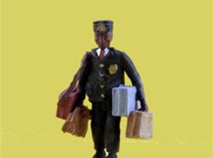 HO Railroad Porter LOADED w Luggage Figure 3d printed LOADED with LUGGAGE he is busy at work