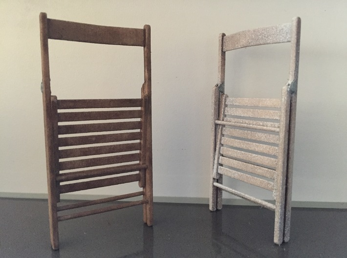 Wooden folding chair, folded, 1:12 3d printed 1:12