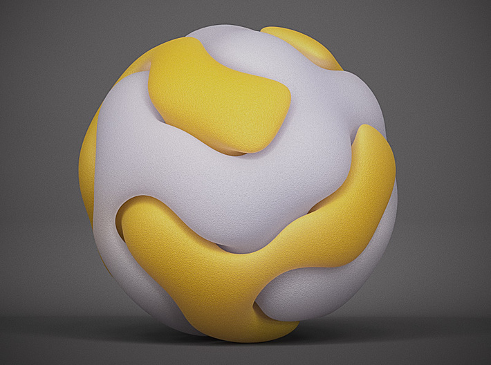 Gyroid Double Sphere 3d printed White Strong and Flexible and Yellow Strong And Flexible shown here for contrast