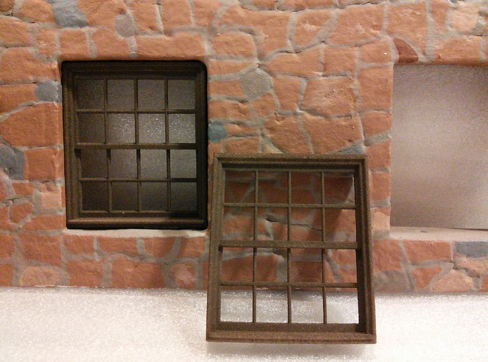 Window, 52in X 60in, 16 Panes, 1/32 Scale 3d printed Printed in White Plastic and then colored brown using Rit dye.