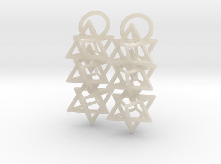 Triple Octahedron Earrings 3d printed