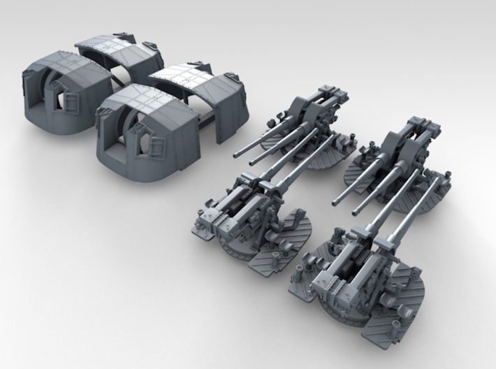 """1/350 4.7"""" MKXII CPXIX Twin Mount x4 3d printed 3d render showing set"""