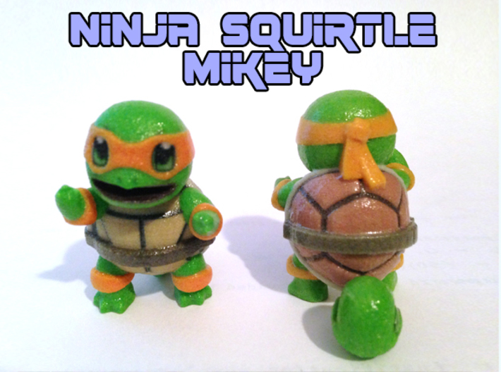 Ninja Squirtle, Mikey 3d printed Coated full color sandstone print