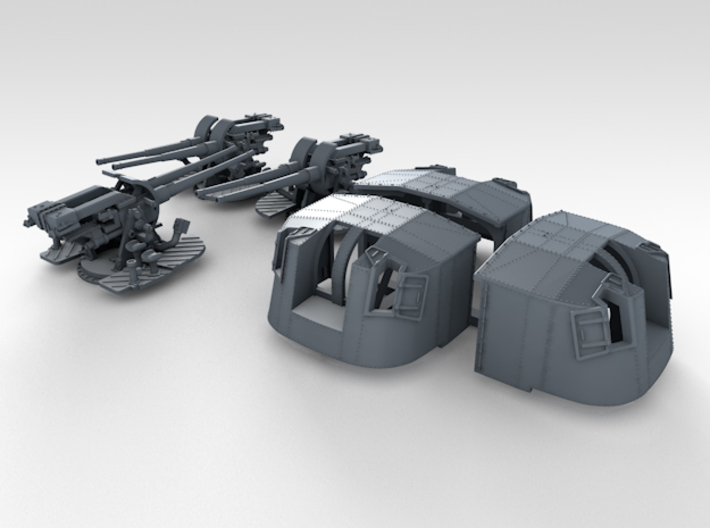 """1/350 4.7"""" MKXII CPXIX Twin Mount x3 3d printed 3d render showing set"""