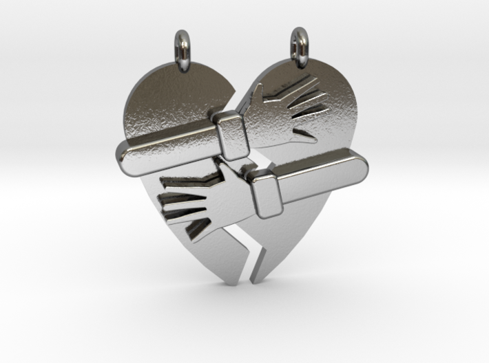 Hold My Heart Pendant (Two-Piece) 3d printed