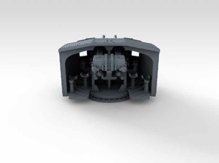 "1/700 4.7"" MKXII CPXIX Twin Mount x4 3d printed 3d render showing product detail"