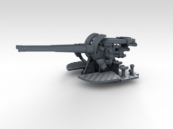 "1/700 4.7"" MKXII CPXIX Twin Mount x4 3d printed 3d render showing gun mount detail"
