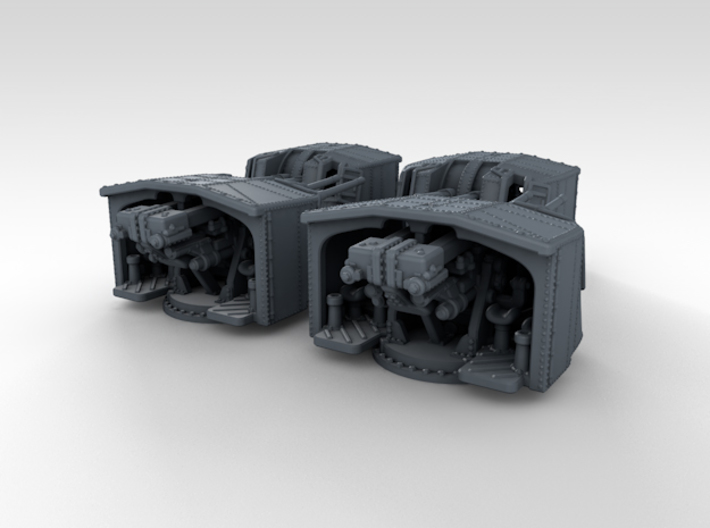 "1/500 4.7"" MKXII CPXIX Twin Mount x4 3d printed 3d render showing set"