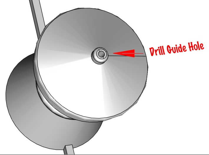 QR Vent Flat Roof X 6 3d printed Shows detail of the drill guide hole for the dressmakers pin spire