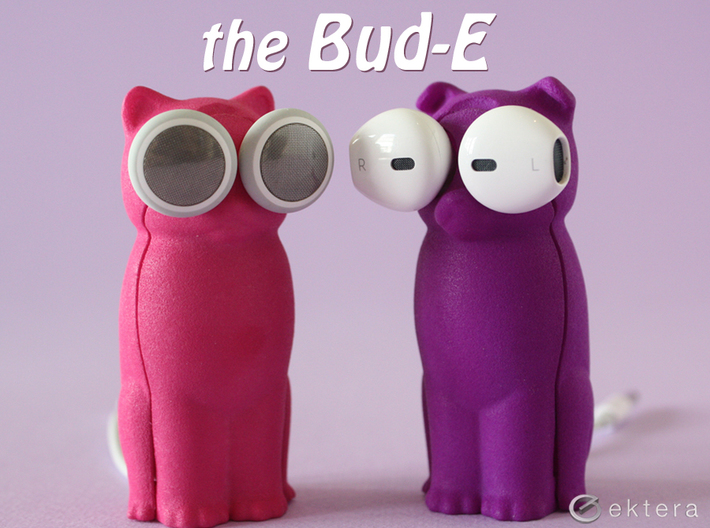 Puppy Dog Earbud Storage Case 3d printed The kitty cat and puppy dog Bud-Es shown here in pink and purple.