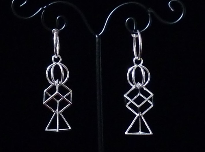 3 Parts Interlocking Swing Earrings 3d printed