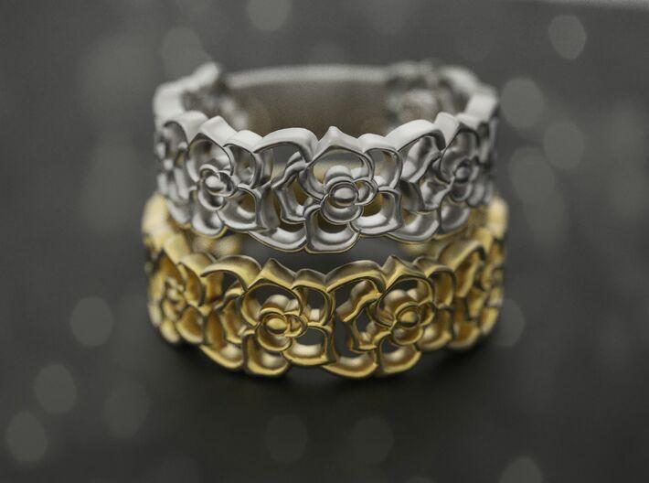Roses band ring 3d printed