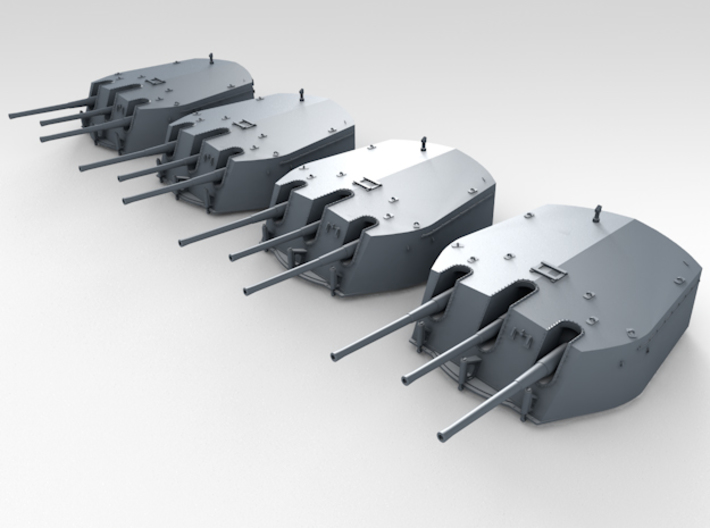 1/415 RN Triple 6 Inch MKXXIII Turrets (4) 3d printed 3d render displaying product detail