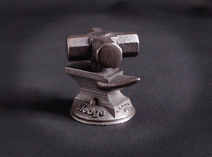 Sledge Hammer  3d printed Shown in Polished Grey Steel
