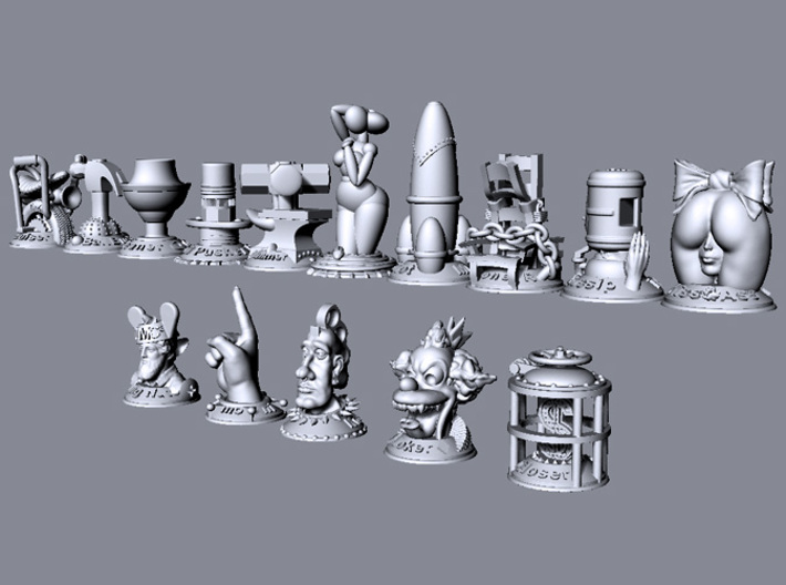 Sledge Hammer  3d printed This image shows the relative size of all models in the collection.