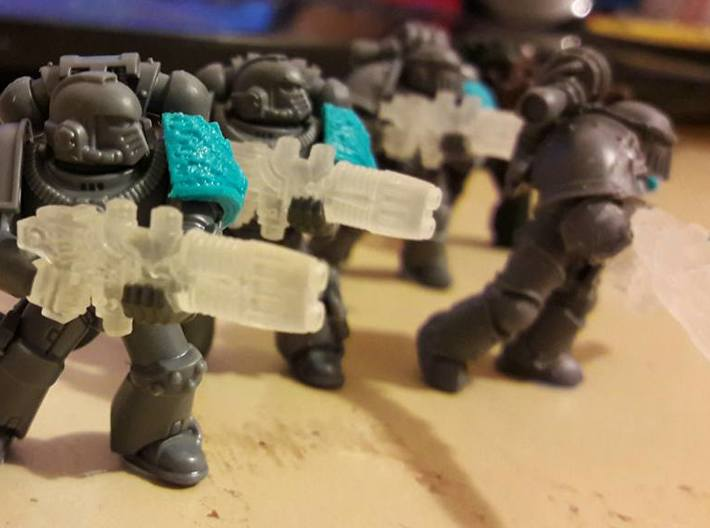 Plasma Repeating Shotgun Sprue X10 3d printed Space Marines shown for scale