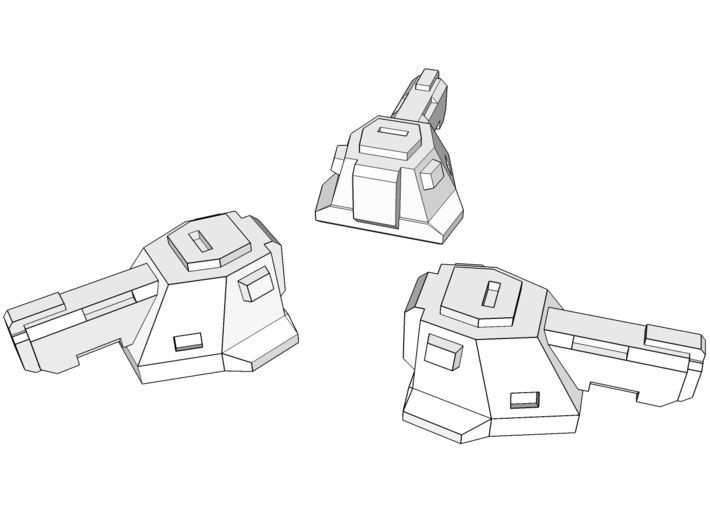 """Broadcannons"" Transformers Turrets (2mm hole) 3d printed Set comes with 4 turrets."
